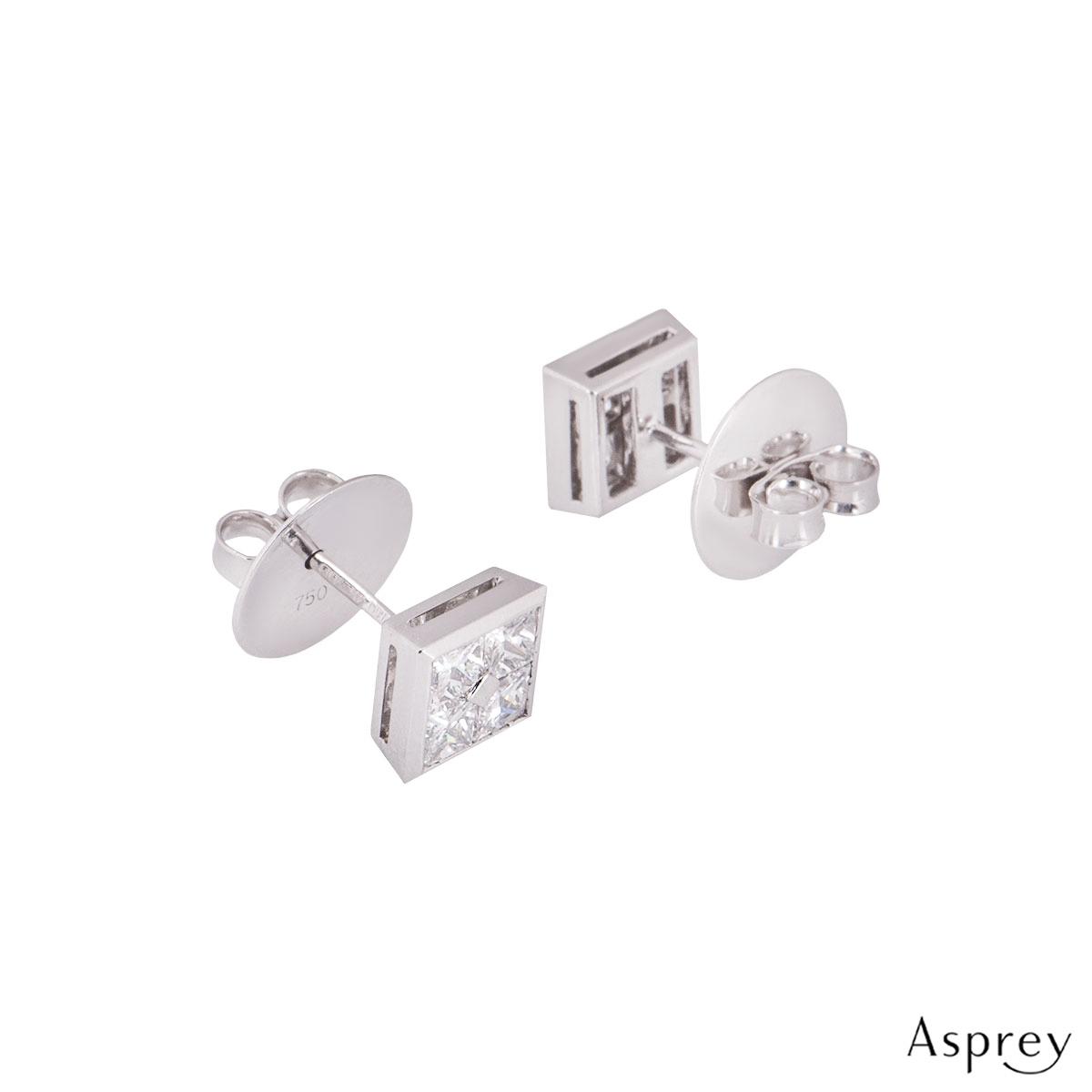 Asprey Platinum Square Diamond Earrings